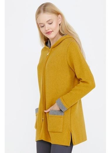 Sementa Cepli Ve Kapüşonlu Kadın Triko Ceket - Güneş - Gri Sarı